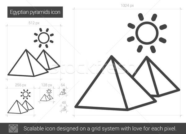 Egyptische piramide lijn icon vector geïsoleerd Stockfoto © RAStudio