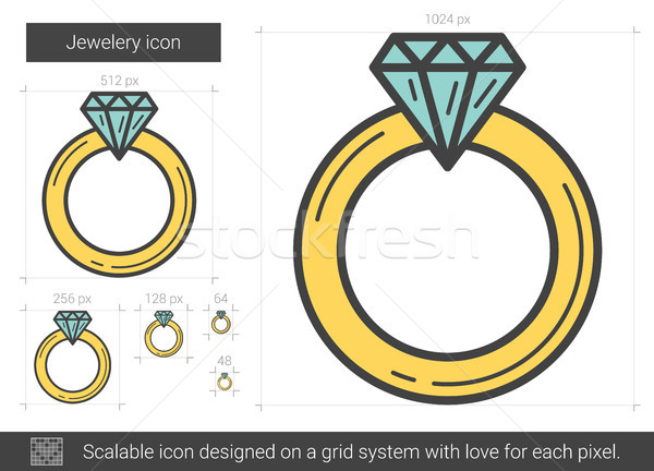 ювелирные обручальное кольцо линия икона изолированный белый Сток-фото © RAStudio