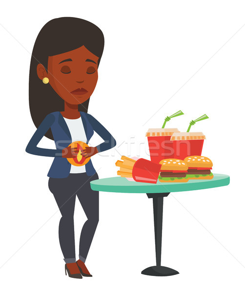 Donna sofferenza bruciore di stomaco mal di stomaco fast food vettore Foto d'archivio © RAStudio