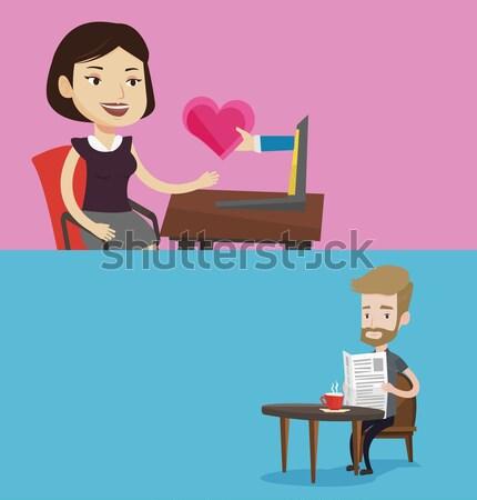 Fiatal nő randizás online laptopot használ nő kaukázusi Stock fotó © RAStudio