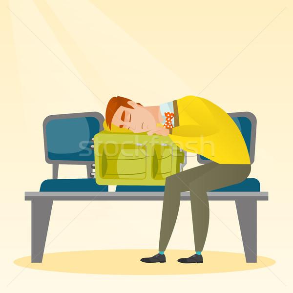 épuisé homme dormir valise aéroport fatigué Photo stock © RAStudio