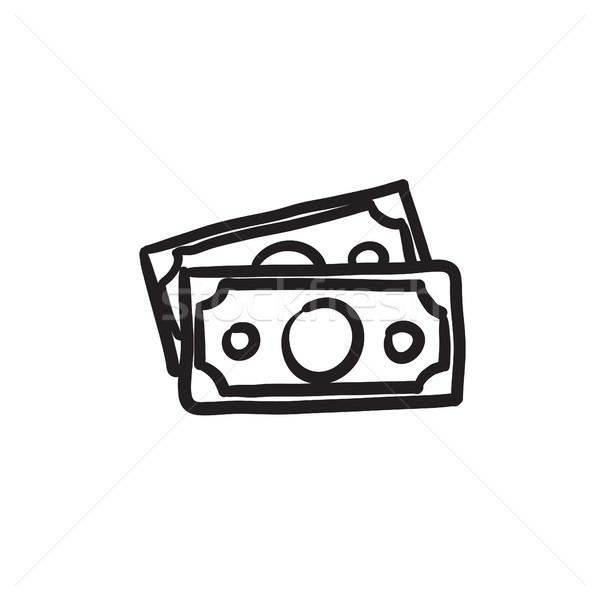 Pénz bankjegyek rajz ikon vektor izolált Stock fotó © RAStudio