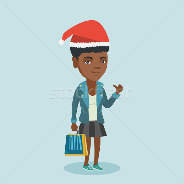 Stok fotoğraf: Kadın · şapka · alışveriş · Noel · hediyeler