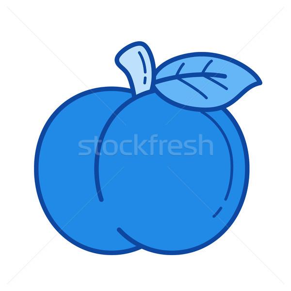 Melocotón línea icono vector aislado blanco Foto stock © RAStudio