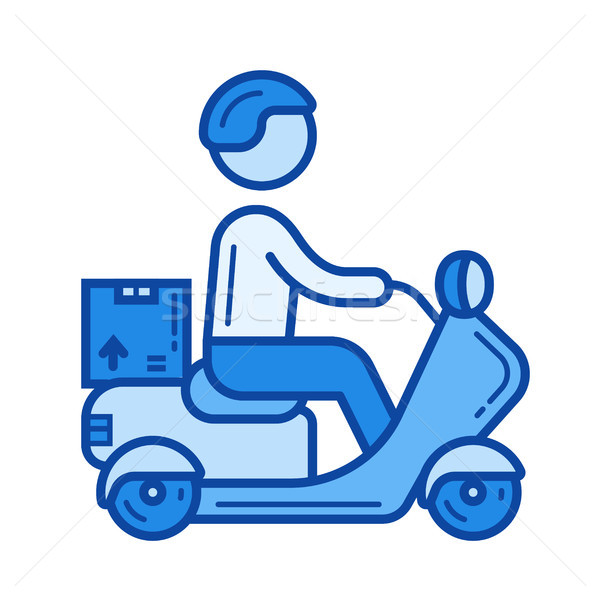 Delivery boy line icon. Stock photo © RAStudio