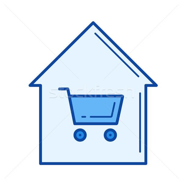 Home kopen lijn icon vector geïsoleerd Stockfoto © RAStudio