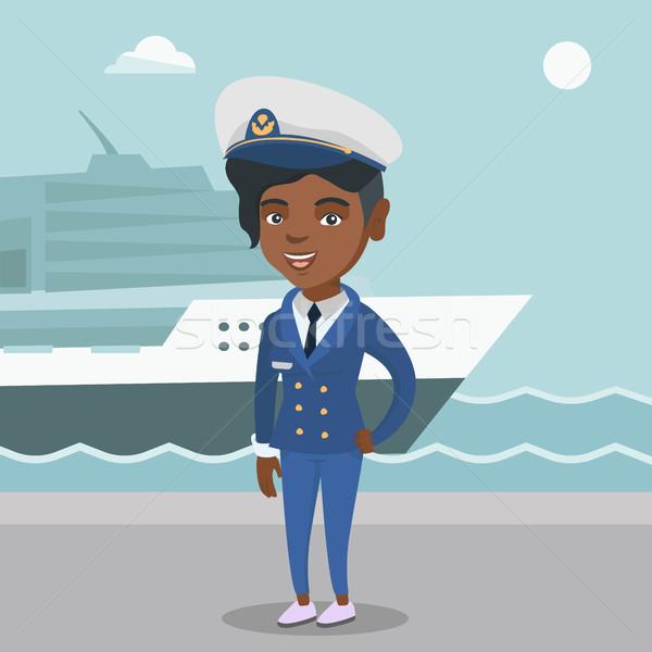 African ship captain in uniform at the port. Stock photo © RAStudio