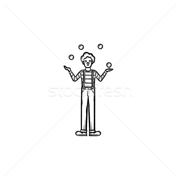 Clown having juggle skills hand drawn sketch icon. Stock photo © RAStudio