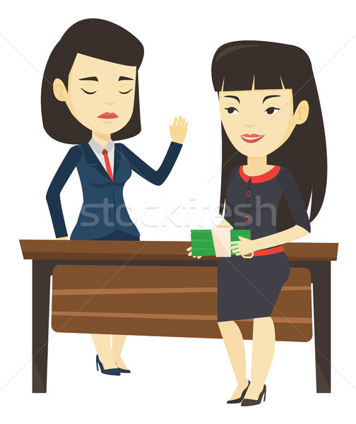 Uncorrupted business woman refusing to take bribe. Stock photo © RAStudio