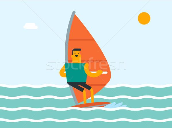 Caucasian white man windsurfing in the sea. Stock photo © RAStudio