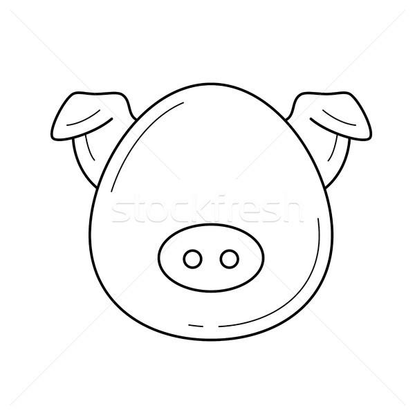 Varkensvlees vlees vector lijn icon geïsoleerd Stockfoto © RAStudio