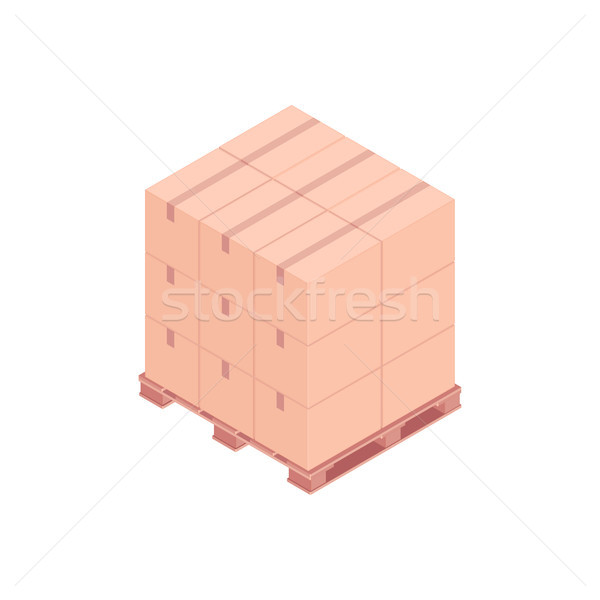 Pallet with small boxes isometric vector illustration Stock photo © RAStudio