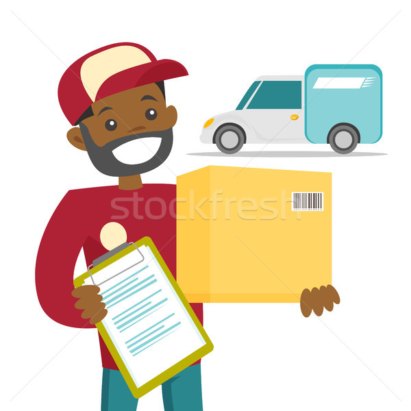 A courier delivering a package. Stock photo © RAStudio