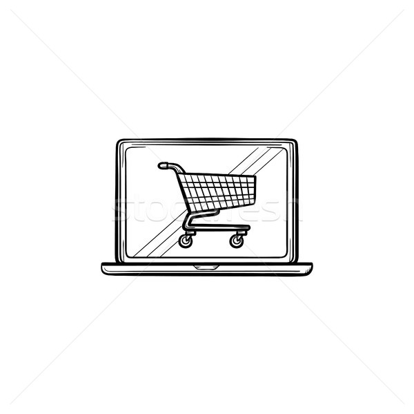 Laptop with shopping cart on screen hand drawn outline doodle icon. Stock photo © RAStudio