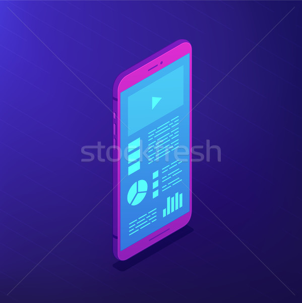Smartphone software. Isometric vector 3d illustration. Stock photo © RAStudio