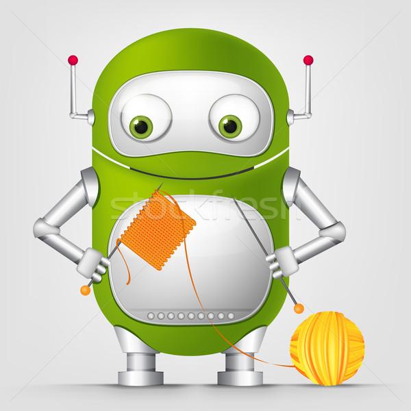 Foto stock: Cute · robot · aislado · gris · gradiente