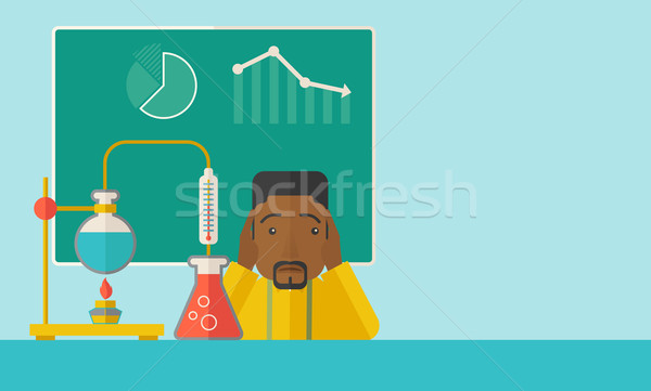 African-american science teacher in laboratory. Stock photo © RAStudio