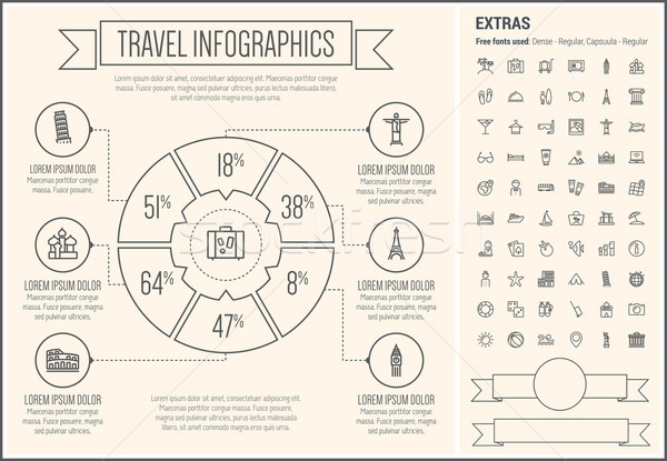Stock photo: Travel Line Design Infographic Template