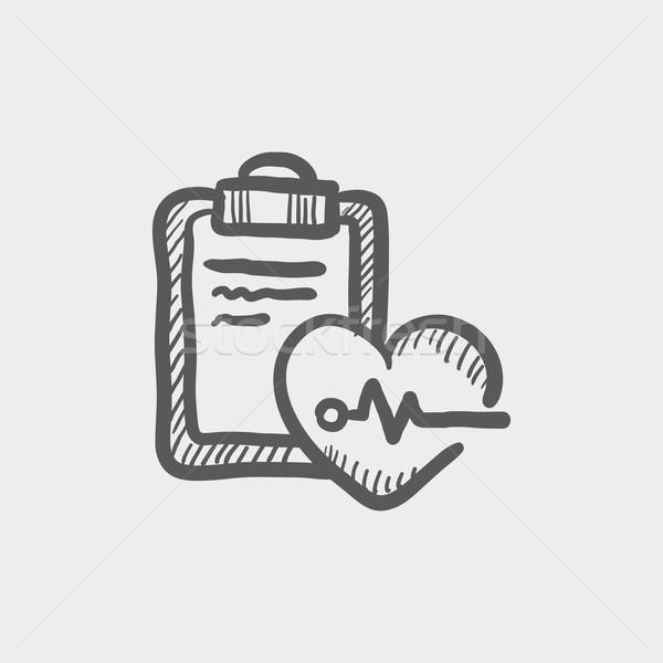 Batida de coração registro esboço ícone teia móvel Foto stock © RAStudio