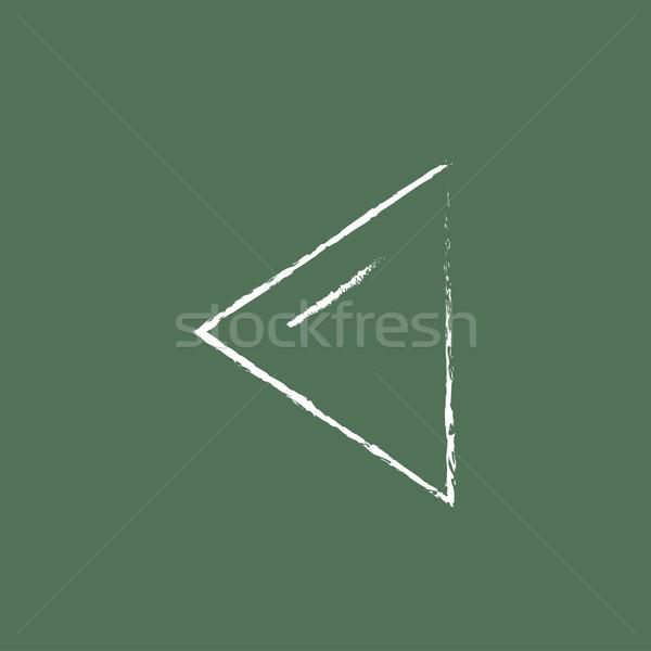 Stock fotó: Korábbi · gomb · ikon · rajzolt · kréta · kézzel · rajzolt