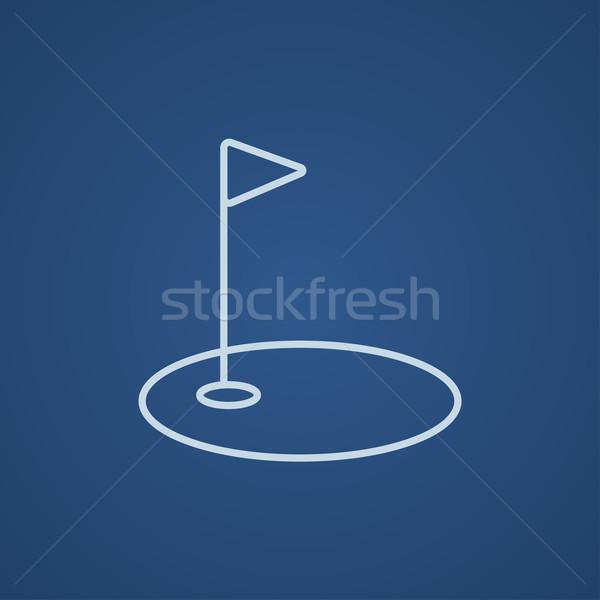 Golf hole with flag line icon. Stock photo © RAStudio