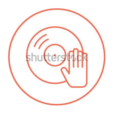 Lemez kéz vonal ikon háló mobil Stock fotó © RAStudio