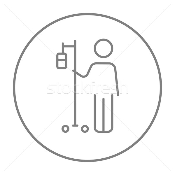 Patient standing with intravenous dropper line icon. Stock photo © RAStudio
