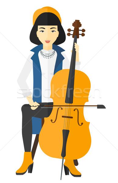 Kadın oynama viyolonsel Asya vektör dizayn Stok fotoğraf © RAStudio