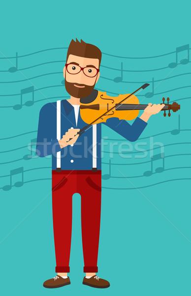 Férfi játszik hegedű hipszter szakáll kék Stock fotó © RAStudio