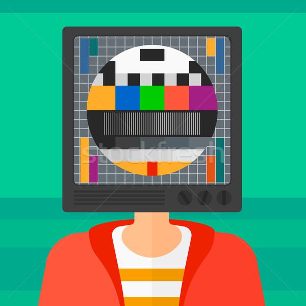 Сток-фото: человека · телевизор · голову · телевизор · вектора · дизайна