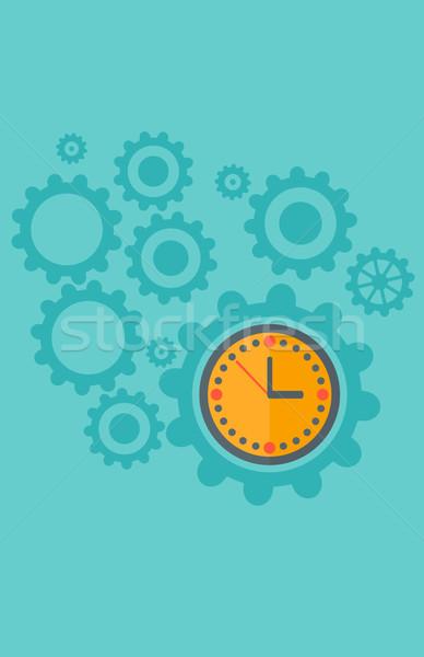 Engrenagens relógio mecanismo isolado azul vetor Foto stock © RAStudio