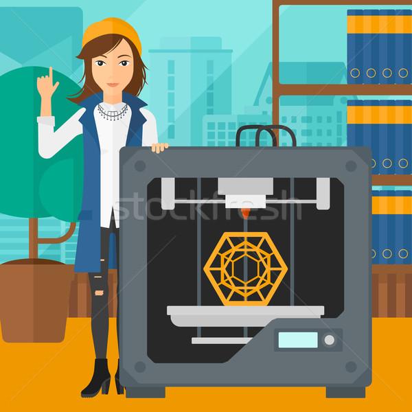 Kobieta trzy drukarki stałego 3D wskazując Zdjęcia stock © RAStudio