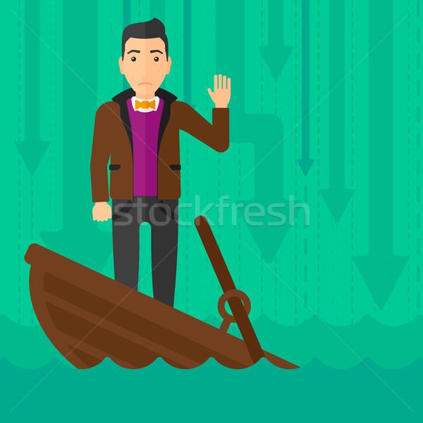 Zakenman permanente zinken boot bang vragen Stockfoto © RAStudio