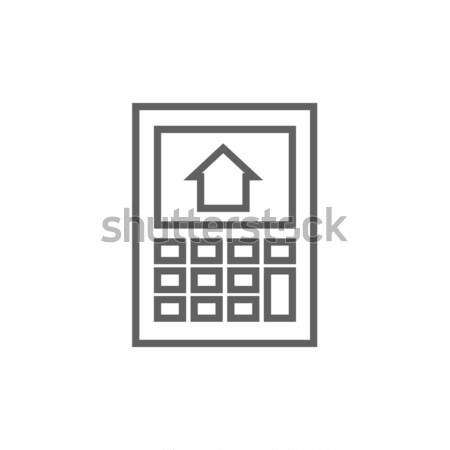 Calculator with house on display line icon. Stock photo © RAStudio
