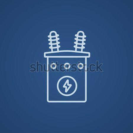 высокое напряжение трансформатор линия икона уголки веб Сток-фото © RAStudio