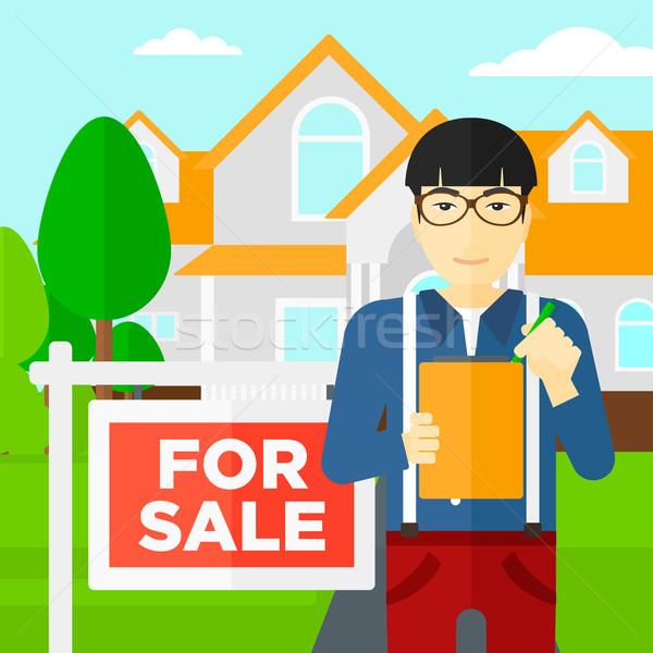 Agente immobiliare firma contratto asian documenti casa Foto d'archivio © RAStudio