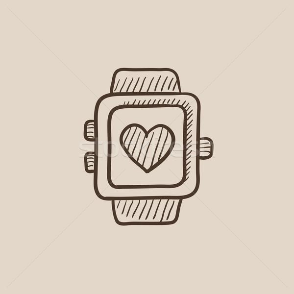 Smartwatch with heart sign sketch icon. Stock photo © RAStudio