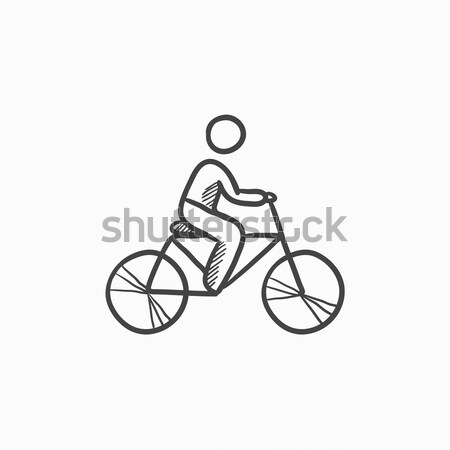 Man riding bike sketch icon  vector illustration © Andrei Krauchuk
