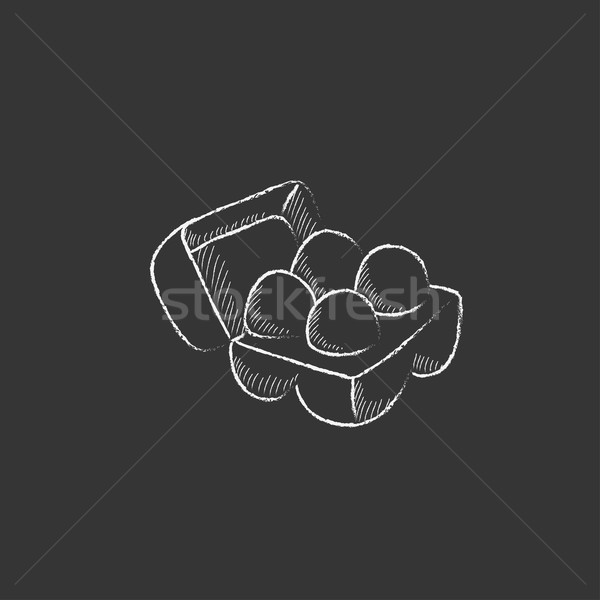 Eggs in carton package. Drawn in chalk icon. Stock photo © RAStudio
