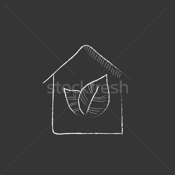 дома мелом икона рисованной вектора Сток-фото © RAStudio