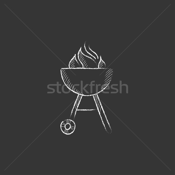 Ketel barbecue krijt icon vlam Stockfoto © RAStudio