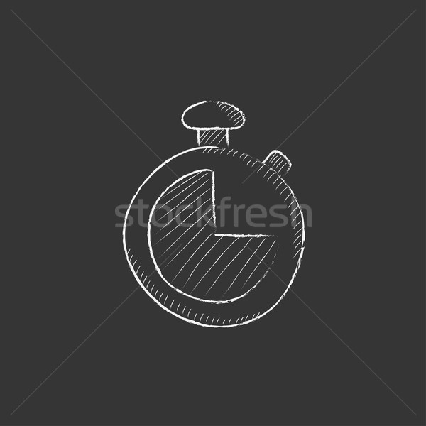 Stopwatch. Drawn in chalk icon. Stock photo © RAStudio