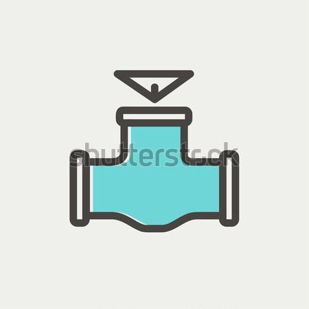 Gas tubería válvula línea icono esquinas Foto stock © RAStudio