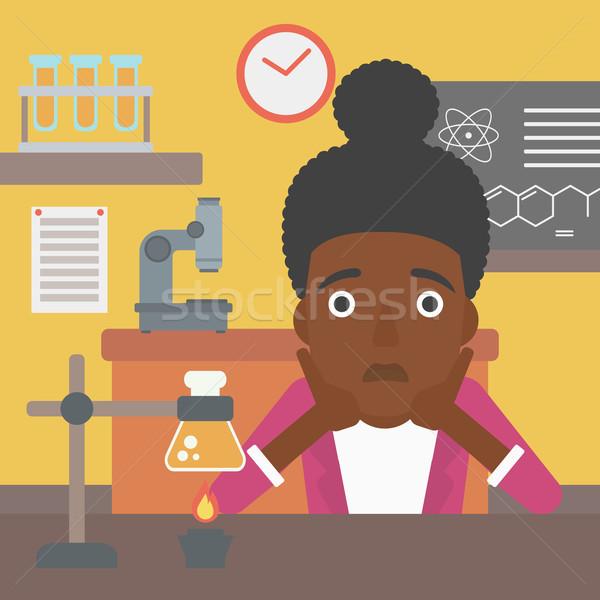 Vrouw wanhoop hoofd chemie klasse vector Stockfoto © RAStudio
