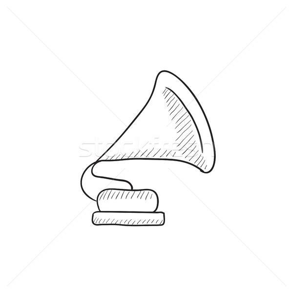 Gramofone esboço ícone vetor isolado Foto stock © RAStudio