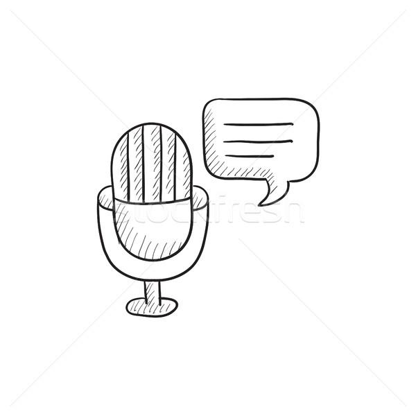 Microphone with speech square sketch icon. Stock photo © RAStudio