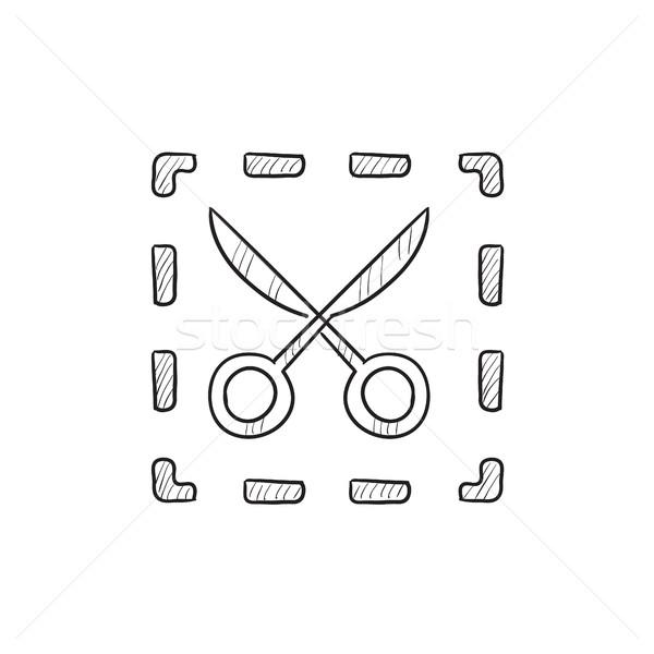 Olló pontozott vonalak rajz ikon vektor Stock fotó © RAStudio