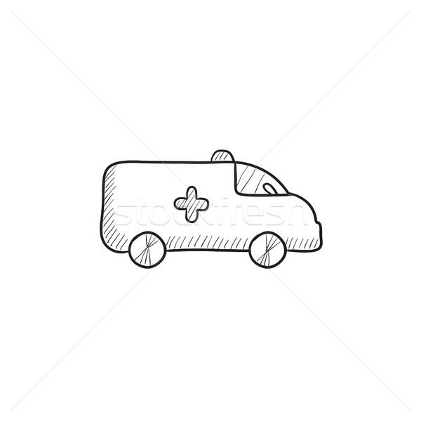 Ambulans araba kroki ikon vektör yalıtılmış Stok fotoğraf © RAStudio