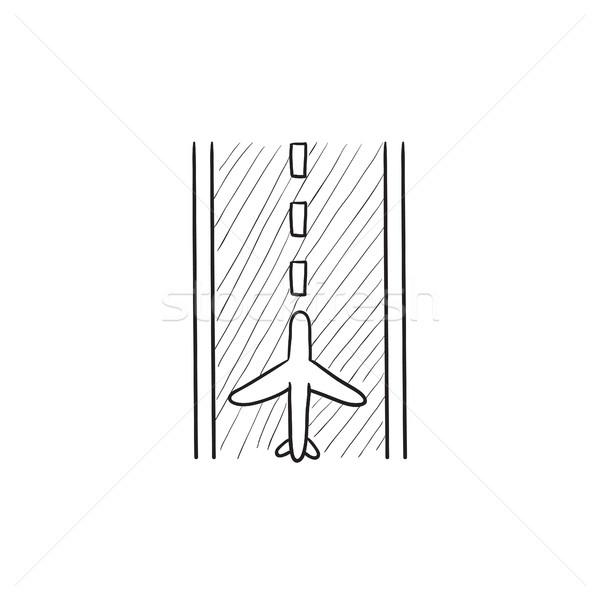 Aeroporto pista esboço ícone vetor isolado Foto stock © RAStudio