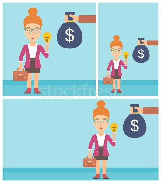 Sikeres üzlet ötlet fiatal üzletasszony aktatáska Stock fotó © RAStudio